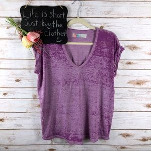 Free People Beach pink oversized rolled sleeve top
